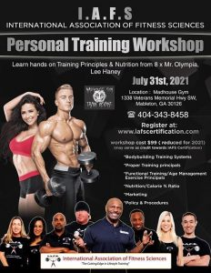 Read more about the article I.A.F.S Personal Training Workshop July 2021